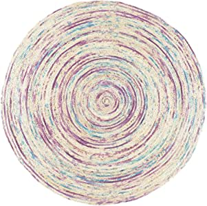 印度* - 1.22 至 2.44 米圆形彩色天然黄麻中国西米亚编织区编织地毯波西米亚印度