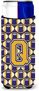 字母 Q 橄榄球 紫色和金色加长男孩饮料 绝缘器 Hugger CJ1064-QTBC