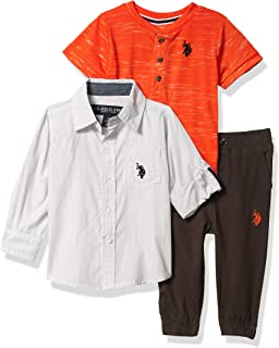 U.S. Polo Assn. 男宝宝裤子套装 Light Gray/Orange Multi 18 Months
