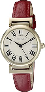 ANNE KLEIN 女士 皮革表带手表,Red/Gold,AK/2246CRRD