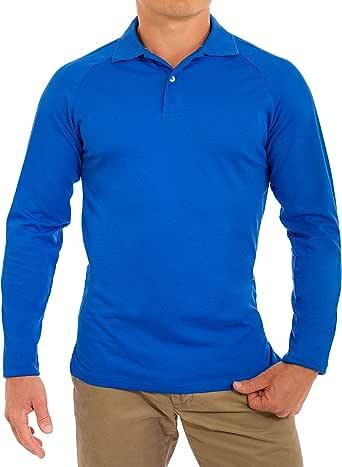 舒适领带男式完美修身长袖柔软修身 Polo 衫 Royal Blue2 Large