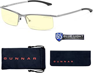 Gunnar Optiks Emissary Semi-Rimless Advanced Computer Glasses with Squared Off Lenses and Amber Tint 水银色 7.5in l x 3in w x 5in h