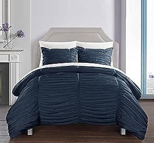 Chic Home Kaiah 棉被 3 件套现代条纹褶饰褶边设计床上用品 - 装饰枕套 包括 *蓝 King BCS11527-AN