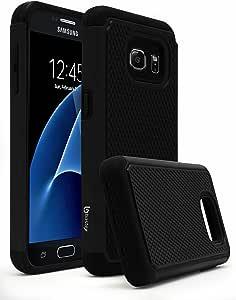 Galaxy S7 手机壳,Bastex 重型混合装甲优质双震保护手机壳适用于三星 Galaxy S7F: A 164B S7 Black Shock + Cloth ALE 黑色