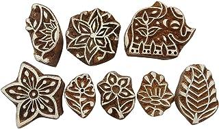 手工雕刻木印章花卉图案印刷块纺织积木 9 件套 Brown (Design#4) PB3610A