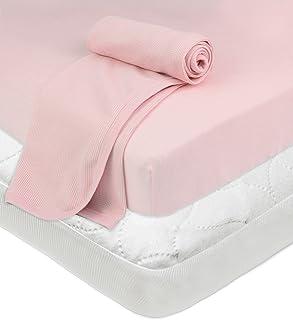 美國嬰兒公司游戲床套裝床墊床笠保暖毛毯粉紅色