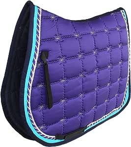 Professional Equine 英式绗缝刺绣通用马鞍垫 紫色 72F15