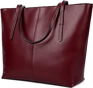 女式真皮大工作手提包手提包手提包拉链封口单肩包 红色 大
