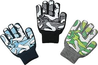 3 件装 - 魔法拉伸冬季儿童手套,男孩,儿童,幼儿 - 恐龙,迷彩,卡车