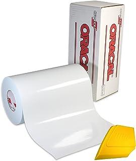 """Oracal 751 优质长期室内和室外工艺乙烯基 30.48 厘米 x 182.88 厘米卷,用于切割机和绘图机,包括硬黄色清洁刮刀 亮白色 12"""" x 6' oracal751multi12x6_glswht"""