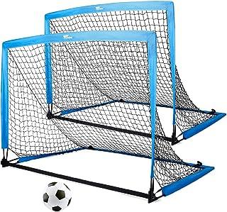amzdeal 足球门 便携式足球门和篮球网 易折叠 携带训练足球门网 室内或室外游戏或训练 儿童青少年足球门 2 件套 带手提袋