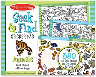 Melissa & Doug 寻觅与寻觅贴纸板 - 动物(400 多张贴纸,14 种彩色场景),多色