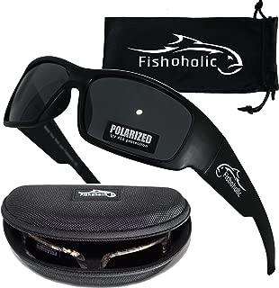 Fishoholic 偏光钓鱼太阳镜(哑光黑色框架带哑光黑色镜片)带免费硬质眼镜盒和眼镜袋 * 紫外线防护*好的钓鱼礼物送给鲈鱼捕手父亲等。
