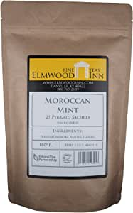 Elmwood Inn Fine Teas, Moroccan Mint Green Tea, 25 Pyramid Sachet Tea Bags