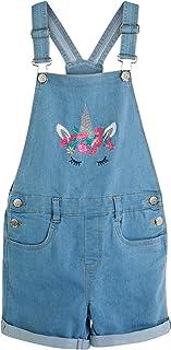 dELiAs 女童牛仔短裤 带可调节肩带和装饰细节,蓝色独角兽,尺码 10