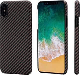 Pitaka iPhone X 手机壳 magcase 芳族聚酰胺纤维 [ 真护甲材质 ] 手机壳超薄 ( 0.03 英寸,约 0.08 厘米 ) 超轻 ( 13.9克 ) 极其耐用、非常紧凑贴合、扣合式保护套适用于 iphone X Black/Rose Gold (Twill)-iPhone X