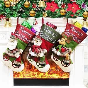 HQQNUO 圣诞袜 圣诞袜 大号 3 件套 45.72 厘米圣诞老人雪人驯鹿圣诞角色3D毛绒人造毛皮袖圣诞装饰派对配件 New Style 2