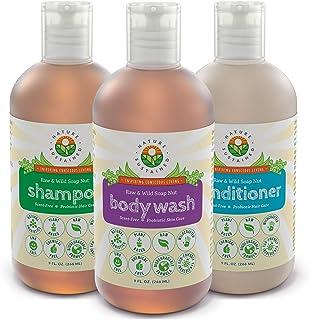 Soapberry*洗发水,沐浴露和护发素(3件装礼品套装)- 生野生*淋浴套装 适用于敏感肌肤和干性* - 不含硫酸盐和酸碱平衡(9盎司) 原味 9 盎司