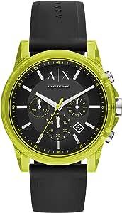 Armani Exchange AIX 男式计时黑色硅胶手表 AX1337