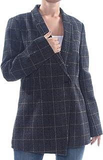 DKNY 女式格子不对称粗花呢外套