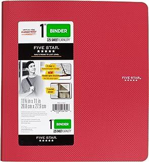 五星 2.54 cm 3 环活页夹,塑料,红色 (38896)