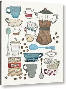 "Tremont Hill Courtney Prahl ""Coffee Chart I V2""画廊包装油画 蓝色 14X18"" 2pra051a1418w"