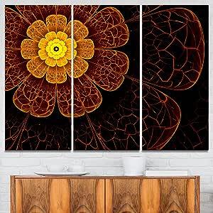 "Designart 对称橙色零碎花数字艺术花卉帆布印刷品 橙色 36x28"" - 3 Panels PT7260-3P"