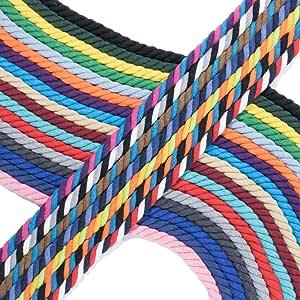 西海岸伞绳扭绞 3 根天然棉绳手工绳 0.63 厘米,1.57 厘米,直径 2.54 厘米 - 超软白色和各种颜色随脚出售 - 25.40 厘米,127 厘米