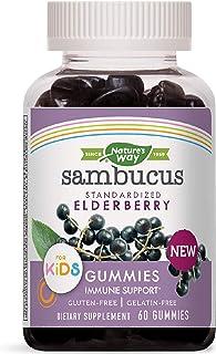 Nature's Way Sambucus Elderberry Kid's Gummies Herbal Supplements, 60 Count   Black Elderberry  Vitamin C   Zinc  