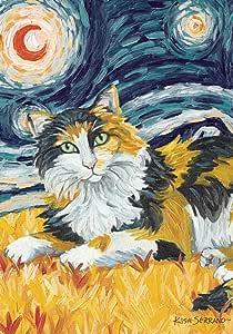 Toland Home 花园 Van Meow Calico Kitty 31.75 x 45.72 cm 装饰彩色艺术星夜猫肖像花园旗帜