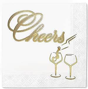 Cheers 装饰 100 件和 50 件一次性派对餐巾纸,12.7 x 12.7 cm 折叠,特殊场合 White Cheers Fine 100 Pieces