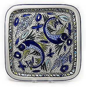 Le Souk Ceramique Square Platter, Aqua Fish Design