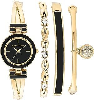Anne Klein Women's Swarovski Crystal Accented Gold-Tone Bangle Watch and Bracelet Set, AK/3284BKST