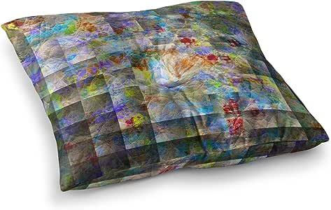 "KESS InHouse Michael Sussna""Yggdrasil"" 彩虹抽象方形地枕 多种颜色 23"" x 23"" MS5006ASF01"