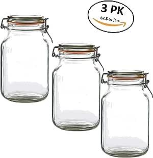 豪华厨房罐装玻璃保护容器带密封盖 - 3 件装 透明 3 Pack 67.5oz