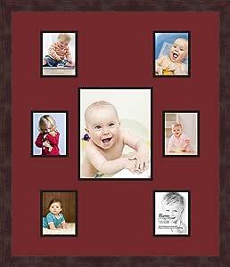 Art to Frames 双-多衬垫-265-594/89-FRBW26061 拼贴框架照片垫双衬垫带 6-4x5 和 1-8x10 开口和Espresso 框架