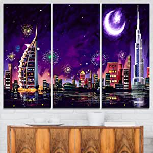 迪拜庆祝 - Cityscape 数字金属墙体艺术 Purple/Red 28'' Hx36'' Wx1'' D 3P MT7541-3P