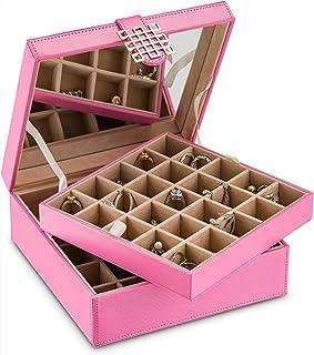 经典 50 格纹首饰盒/收纳盒/盒/耳环、戒指、袖扣或收藏品 粉红色 B013GWZWCY