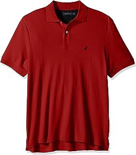 Nautica 男士经典柔软棉质纯色短袖Polo衫,Nautica Red,Large