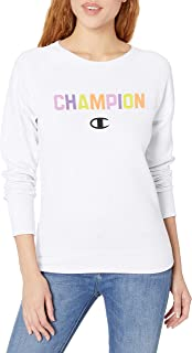 Champion 女士 Powerblend 图案 男友风 圆领运动衫