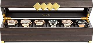 Glenor Co 男式木制手表盒 - 6 个插槽 - 现代豪华表壳带金色扣和腿 - 大型玻璃显示存储器 - 男士收纳袋 - 黑色皮革枕套 - 棕色核桃木