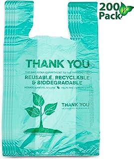 可回收堆肥可重复使用生物降解袋购物袋*环保塑料袋200包