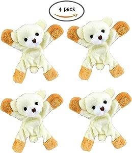 MIG ATT 玩具毛绒动物3d 冰箱白板磁铁或者任何金属物品 surfaces 适用于儿童和厨房4包套装 熊