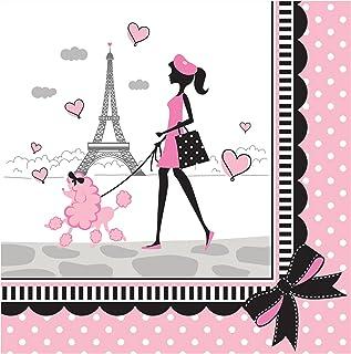 Creative Converting 18 片装巴黎午餐巾纸,粉色/黑色
