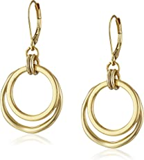 Anne Klein Gold Tone Small Orbital Fishhook Drop Earrings
