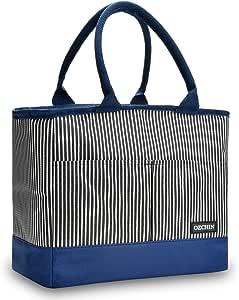 保温午餐袋女士可重复使用午餐手提袋冷藏袋手提包野餐工作 OZCHIN Vertical Stripe