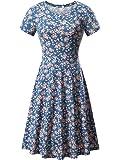 huhot 女式短袖圆领夏季休闲喇叭中长款连衣裙