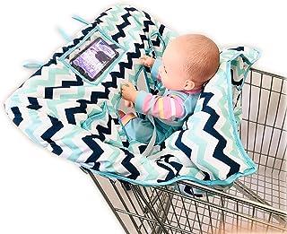 4 条腿孔双胞胎婴儿购物车罩,适用于双胞胎或婴儿兄弟姐妹,XL 码,*适合批发仓库杂货店 Blue Wave 4/2 Leg holes 均码