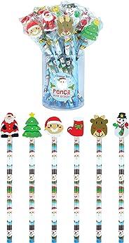 geo-versand 儿童 12 x 圣诞铅笔显示屏 - 6个降临节日历橡皮擦,多色,M