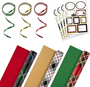 Hallmark 双面圣诞包装纸套装,带丝带和礼品标签贴纸 Plaid, 3 Pack w/Accessories Tri-Pack 5JXW1027